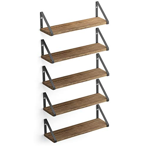 Wallniture Ponza Wood Floating Shelves for Wall Storage, Natural Burned Small Bookshelf Set of 5