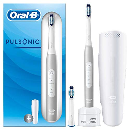 Oral-B Pulsonic Slim Luxe 4200 Elektrische Schallzahnbürste für gesünderes Zahnfleisch in 4 Wochen, 3 Putzmodi inkl. Sensitiv, Timer, 2 Aufsteckbürsten, Reiseetui, Frustfreie Verpackung, platin