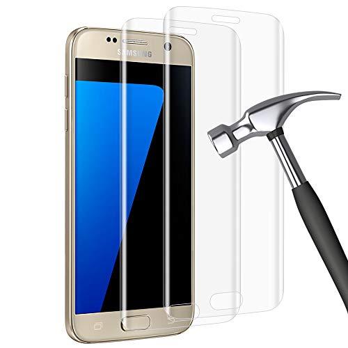 wsky Schutzfolie für Samsung Galaxy S7 Edge Panzerglas, Anti-Öl Anti Fingerabdruck Anti-Bläschen Panzerglasfolie, 9H Härte Anti-Kratzen Glasfolie, Gehärtetem Glas Displayschutzfolie [2 Stück]