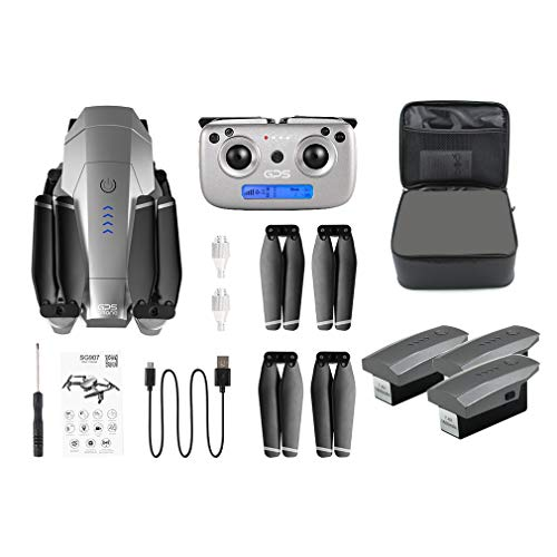 Banghotfire SG907 GPS Drone with 4K/1080P HD Camera 5G Anti-Shake FPV RC Toy Machine(Gray&Black) Storage Box(4K/3Battery)
