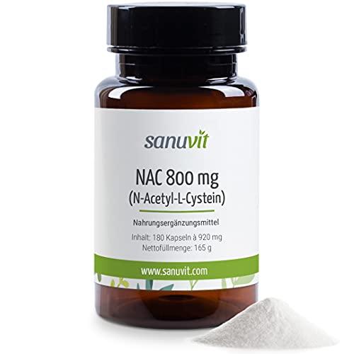 Sanuvit® - NAC 800 mg pro Kapsel | Hochdosiert | N-Acetyl-L-Cystein | Hohe Bioverfügbarkeit und Verträglichkeit | Vegan | Hergestellt in Österreich | 180 Kapseln