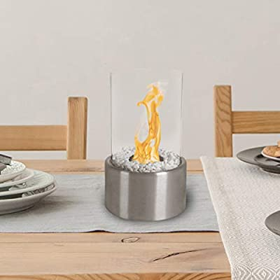 Bio Ethanol Ventless Tabletop Fireplace– Real Smokeless Flame- Clean Burning Indoor/Outdoor Portable Heat, Cylinder Shape with 360 View by Lavish Home