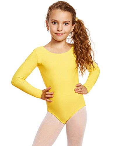 Leveret Girls Leotard Yellow Long Sleeve Medium (8-10)
