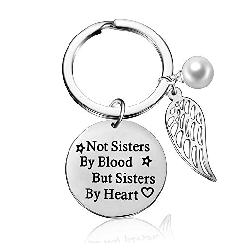 Not Sisters by Blood But Sisters by Heart Keychain Women BFF Keyring Friendship
