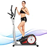 ANCHEER Elliptical Machine for Home Use, Magnetic Training Machines with Pulse Rate Grips and LCD Monitor, Smooth Quiet Driven for Home Gym Office Workout Max Capacity Weight 350LBS