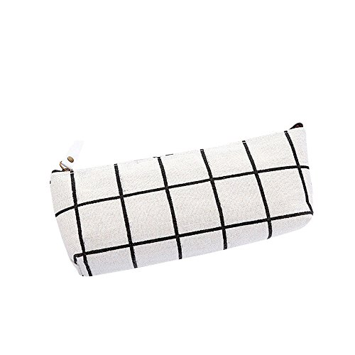 Fine Plaid Canvas Pencil Case, Pencil Pen Case Cosmetic Makeup Bag Storage Pouch Purse Students School Big Capacity Pen Pencil Bag Pouch Box Organizer (White)