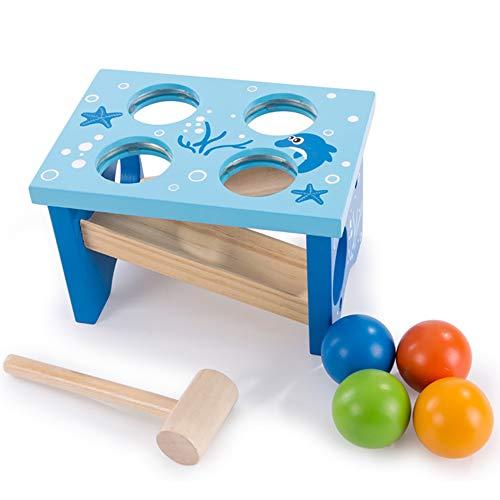 Jouets pour hamsters pour enfants jouets d'éducation précoce de style minimaliste modernes imperméables à l'eau / 4 trous - Jouet en bois avec marteau simple pour bébé âgé de 1 à 3 ans 12*17.5*13