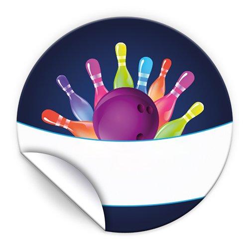 JuNa-Experten 24 Aufkleber Bowling neon für Geschenkverpackung / Sticker für Verpackung von Gastgeschenk Mitgebsel / Kindergeburtstag / Party-Deko