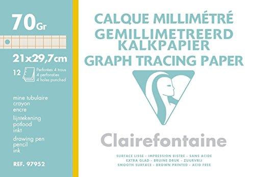 Clairefontaine 97952C - Une pochette de Calque millimétré 12 feuilles 21x29,7 cm 70/75g