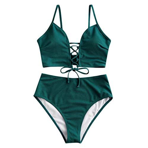 Havecolor Zweiteiliger Badeanzug für Frauen mit hoher Taille Bikini-Set Verstellbarer Schultergurt Bikini Oberer Brustkreuzgurt Bikini mit hoher Taille Einfarbiger/bedruckter Bikini S,M,L,XL