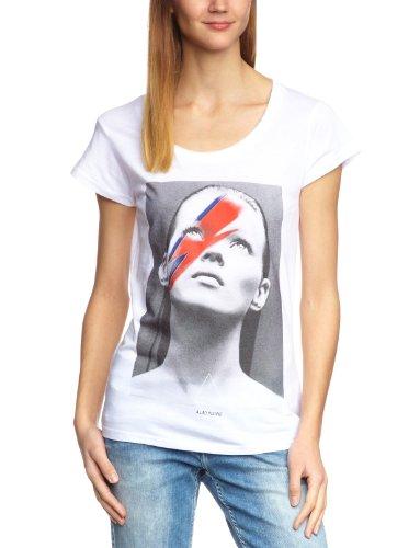 Eleven Paris - Camiseta con cuello de pico de manga corta para mujer, talla 40, color blanco (m white 099)