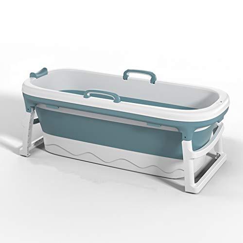 Bañera para Adultos Bañera Plegable Portátil Hogar Plato de Ducha Grande para Bañera (Color : Blue, Size : Without cover)