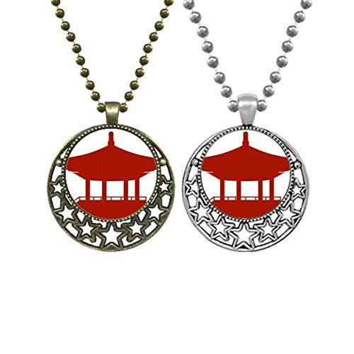 China-Pavillon Kultur Umrissmuster Liebhaber Halsketten Anhänger Retro Mond Sterne Schmuck