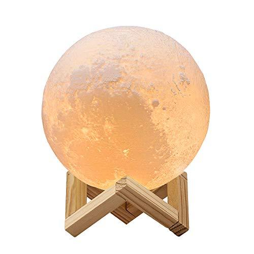 Redlemon Lámpara de Luna 3D, Control Táctil e Intensidad Regulable, 2 Colores de Luz LED, Batería…