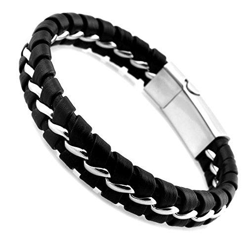 UEETEK Chicos moda hombres cuero de la PU suave de punto cadena de acero inoxidable magnética broche pulsera brazalete brazalete (negro)