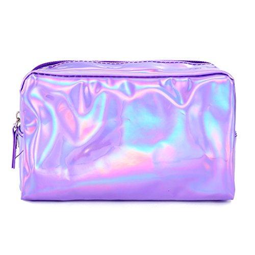 Longsheng Bolsa de maquillaje de viaje de cuero de la PU de maquillaje bolsa de almacenamiento diario organizador luminoso cosmético, suministros de tocador bolsa de belleza, Purple, 18*10.5cm, Moda