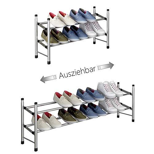 TZAMLI Ausziehbar Schuhregal mit 2 Ebenen zur Aufbewahrung von bis zu 12 Paar Schuhen, Verstellbarer stapelbarer Schuhregal-Stauraum für den Flur, 62~114 x 22 x 35 cm (Silber grau, 2 Böden)