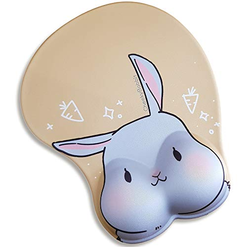3D Cute Anime Rabbit Mouse Pad with Silicon Wrist Rest, Gaming Mousepads, Comfy Mousepad, Mouse mat, Manga Design Mousepad, Funny Mousepads
