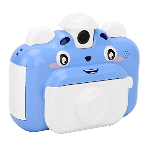 lyrlody- Cámara de fotos infantil con impresión para niños (pantalla de 2,4 pulgadas, 3 rollos de papel de impresión, para niños de 4 a 11 años), color azul