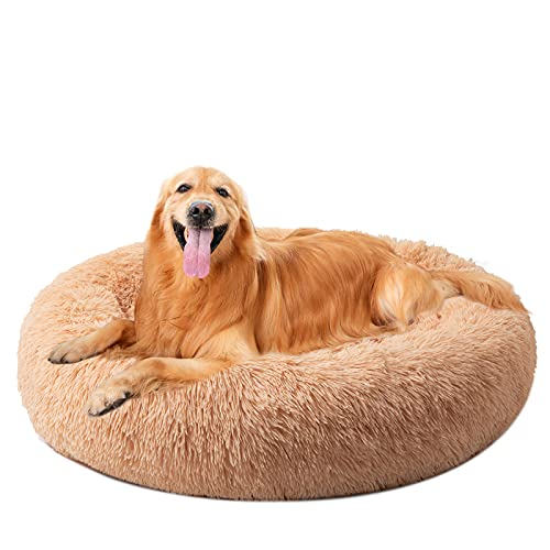 DanceWhale Redonda Cama Perro Gato Cama Cama de Felpa para Mascota Lavable Sofa Suave Cachorro Calentito Cojín(100cm, Begie)