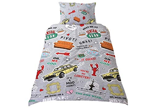 BM Friends Single Duvet Cover Set with Pillow Case Decorated with Props from Friends TV Show Central Perk Cafe