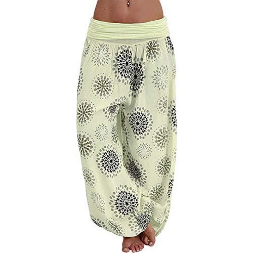 Shujin - Pantalones tipo harén para mujer con estampado de flores, Primavera-verano, Harem, Mujer, color amarillo, tamaño XXL