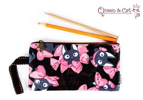 Trousse Plate Simple Fermeture éclair Queen & Cat -Chat Kiki Papillon Fond Noir