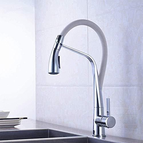 kraan chroom wit keuken geïnstalleerd warm en koud water mixer trekker-Down mixer kraan 2 functie Outletwashing machine keuken