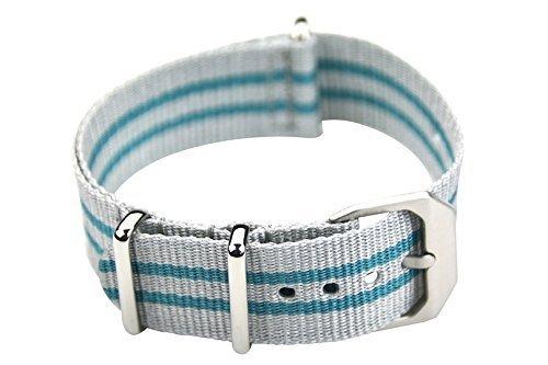 slow - Türkis/graues Nylonband mit silberem Verschluss - 20mm Breite