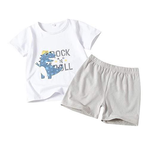 Ropa de Bebé Niño Trajes Camisa Superior con Estampado de Dinosaurio de Manga Corta de Verano, Conjunto de Ropa para Pantalones Cortos