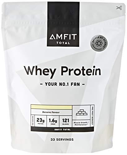 Marca Amazon - Amfit Nutrition Proteína de Suero de Leche en Polvo 1kg - Plátano (anteriormente PBN) 🔥