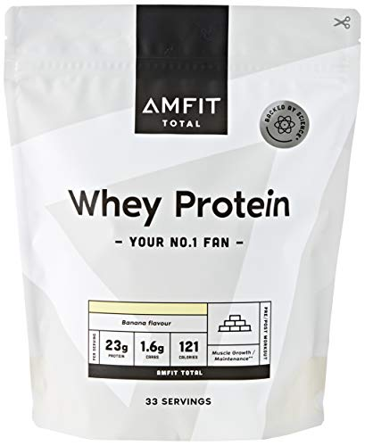Marchio Amazon - Amfit Nutrition Proteine del Siero di Latte in Polvere 1kg - Banana (precedentemente marchio PBN)