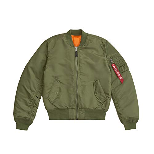 Alpha Industries Men's Slim-European Fit MA-1 Flight Jacket (S, Sage)