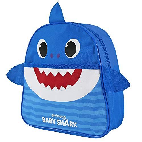 Baby Shark Mochila Infantil para Guarderìa - Mochila Niña y Niño Amarillo Azul Rosa para Jardìn de Infantes y Viajes - Mochilita Bolsa en Forma de Tiburòn Niños de 2-5 Años - 29x27x10 cm (Azul)