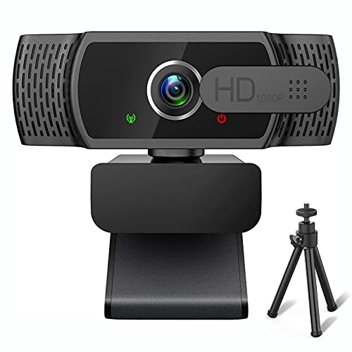 AoiNaka Webカメラ フルHD 1080P 高画質 ウェブカメラ 200万画素 110°広角 マイク内蔵 オートフォーカス 自動光補正 盗撮防止カバー付き 三脚付き USBカメラ 在宅勤務 授業 ビデオ通話用 MAC OS, Windows XP/7/8/10, Zoom, Teams Youtube, Skype, Facebook, Facetimeなど対応可 1年メーカー保証