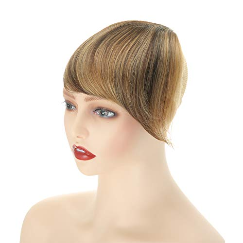 Clip in Bangs Black One Piece 100% Real Human Hair Side Swept Clip in Fringe Bangs Hair Extensions (P2/27#)