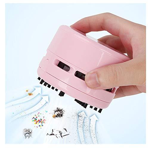 Mini Staubsauger Mini Tischstaubsauger, Abschraubbarer Auffangbehälter .8 x 6 cm Kreativ Deskop Cleaner Reiniger Tastatursauger für Desktop und Haushalt (Pink)