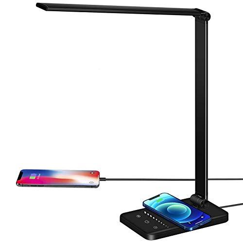 Lacmisc Lámpara Escritorio LED, Lámparas de Mesa USB Regulable (5 Modos,10 Niveles...