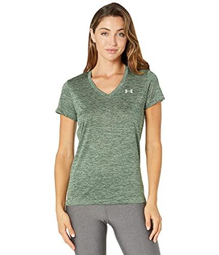 Under Armour Women's Tech V-Neck Twist Short-Sleeve T-Shirt , Silica Green (348)/Metallic Silver, Small