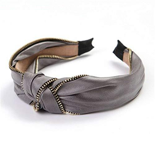 MOPOLIS Womens Headband Twist Knot Zipper Head Wrap Twisted Knotted Fashion Head Band   Colors - Gray