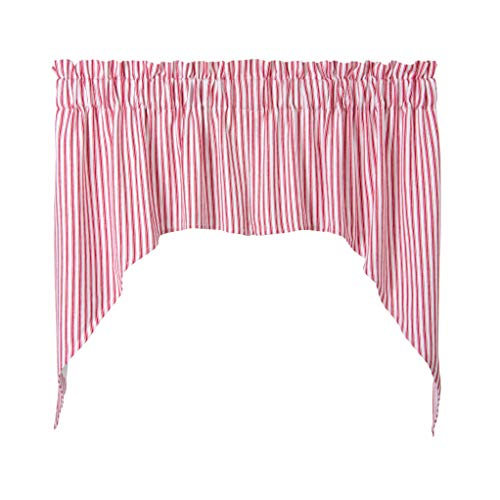 Cackleberry Home Red and White Ticking Stripe Woven Cotton Swag Curtains 36 Inches W x 38 Inches L, Set of 2