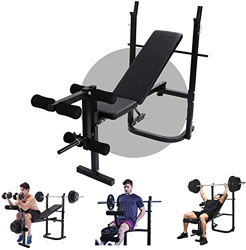 Weight Bench With Weights and Bar Set, Workout Bench with Leg Extension and Preacher Curl for Full-Body Exercise and Strength Training, Weight Lifting Bench Press for Home Gym
