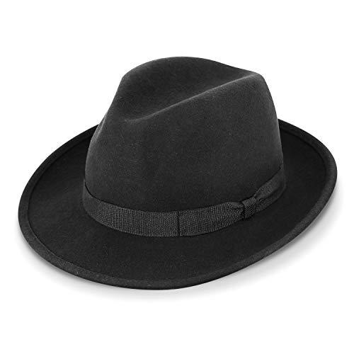 fiebig Fedora Wollfilzhut | Bogart Filzhut für Damen und Herren | Klassischer Sitz im Sommer und Winter | Classic Hat Made in Italy (57-M, Schwarz)