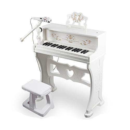 MYRCLMY Piano para Niños, Clásico 30 Key Mini Mini Baby Grand Piano Juguete con Micrófono De Banco Mini Juguete Musical para Niños Piano De Juguete para Niños,Blanco