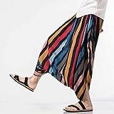 INCERUN Mens 100% Cotton Crotch Wide Leg Pants Sports Loose Yoga Harem Stripe Solid Trouser