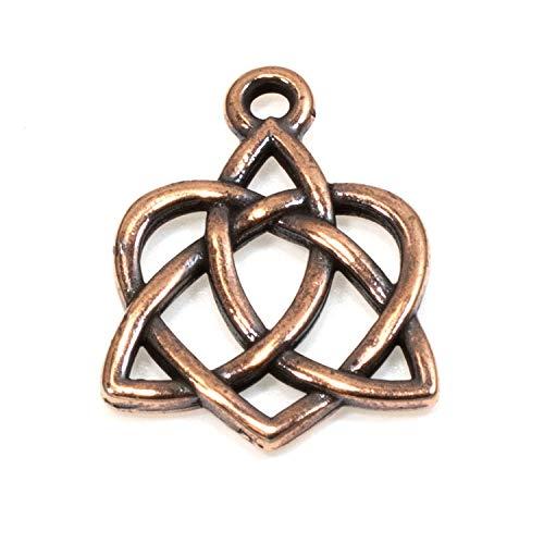 Copper Small Celtic Open Heart Charms, TierraCast Love Knot Charm 2/Pkg
