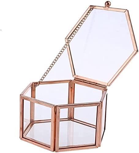 X&J Caja de anillo de cristal de oro rosa transparente hexagonal caja de anillo de boda caja de cristal transparente geométrico organizador de mesa
