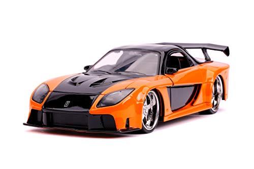 Jada Toys 253203058 Fast & Furious Mazda RX-7, Spielzeugauto aus Die-cast, zu öffnende Türen, Kofferraum & Motorhaube, Maßstab 1:24, metallisch-orange