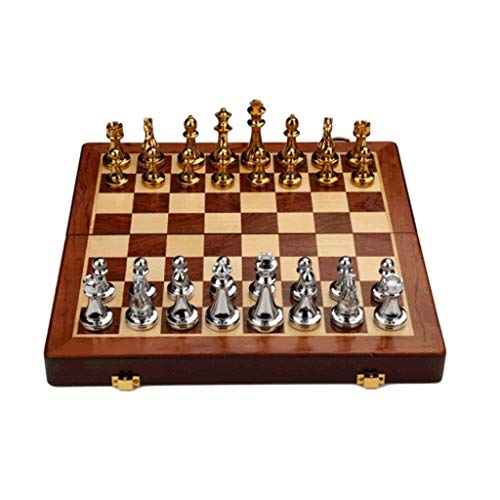 GJY Creative Chess Portable Wood Chess Board with Metal Pieces,Folding Board and Storage Slots,Travel Metal Magnetic Chess Game Board,Small,Small