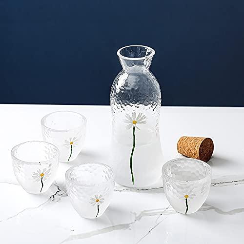 Juego de vinos de Estilo japonés, Conjunto de Vino de Vidrio de pequeña Margarita Pintada a Mano, Maceta Japonesa, Calentador de Vino para el hogar (Color : A)